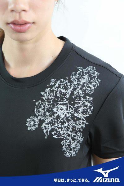 MIZUNO美津濃 水鑽系列排汗衣(黑) 女短袖Tt恤 吸汗速乾