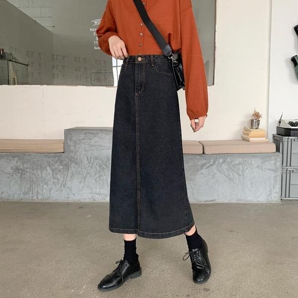 EASON SHOP(GW5895)實拍復古丹寧多口袋下襬後開衩牛仔裙女高腰長裙顯瘦過膝裙中長款一步裙A字裙黑色