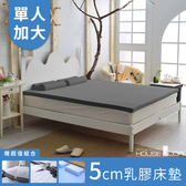 House Door 大和防螨布乳膠床墊5cm保潔超值組-單大3.5尺質感灰