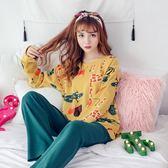 新春新品▷ 睡衣女 純棉長袖 韓版寬松兩件套居服套裝