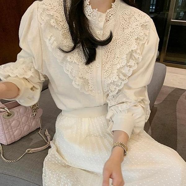 兩件可選.優雅蕾絲花朵襯衫+高腰網紗圓點點鬆緊長裙.白鳥麗子