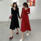 (下殺)心機設計感v領修身顯瘦連身裙女【08SG04918】