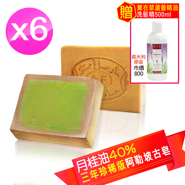 【Alepal敘利亞原裝】月桂油40% 阿勒坡古皂(190g±10%)x6+贈薰衣草洗髮500ml