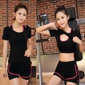 加大尺碼新款春夏瑜伽運動套裝女莫代爾棉健身房 跑步健身服初學者    麻吉鋪