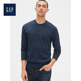 Gap男裝 舒適圓領長袖針織衫474785-海軍藍
