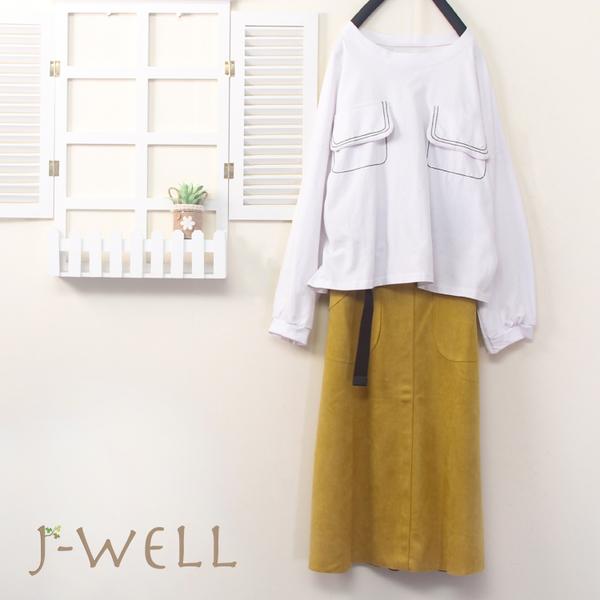 J-WELL 撞色壓線口袋上衣長裙二件組(組合B019 9J1044白+9J1052黃)