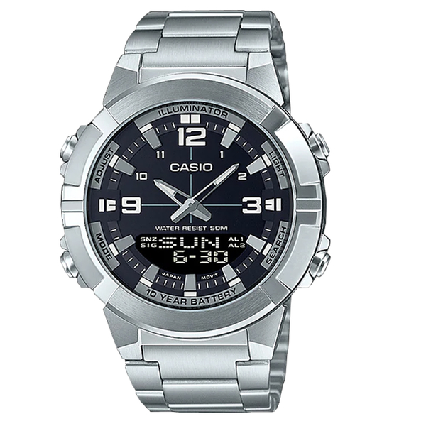 CASIO卡西歐 手錶專賣店 AMW-870D-1A 雙顯男錶 不鏽鋼錶帶 防水50米 AMW-870D