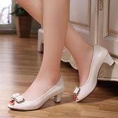 魚口鞋 新款真皮淺口單鞋魚口鞋皮鞋中跟簡約工作鞋 巴黎春天