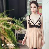 聖托里尼‧蕾絲柔紗連身性感睡衣(裸膚色) S~L  Choco Shop