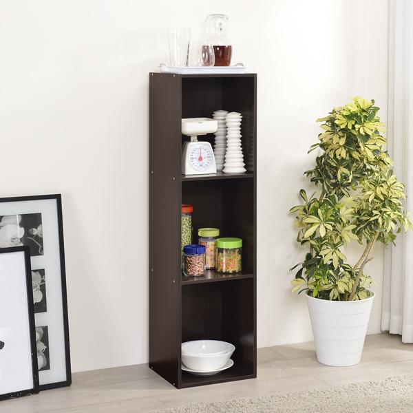 書櫃 收納 堆疊 置物櫃【收納屋】簡約加高三空櫃-胡桃木色& DIY組合傢俱