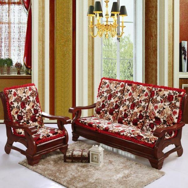 椅墊 冬季加厚防滑紅木實木質家具布藝沙發帶靠背海綿椅坐墊 萬客居