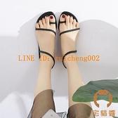 涼鞋女夏平底編織套趾簡約細帶羅馬沙灘鞋時尚平跟鞋【橘社小鎮】