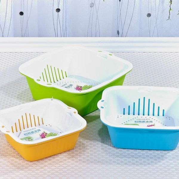 茶花塑料雙層洗菜籃子瀝水籃洗菜盆家用客廳創意水果盤3個