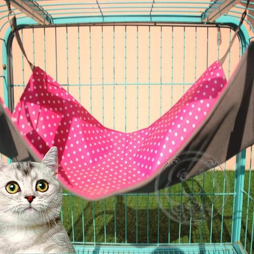 【培菓幸福寵物專營店】dyy》戀戀點點貓咪│貂寵物扣環式吊床L(53*36CM)