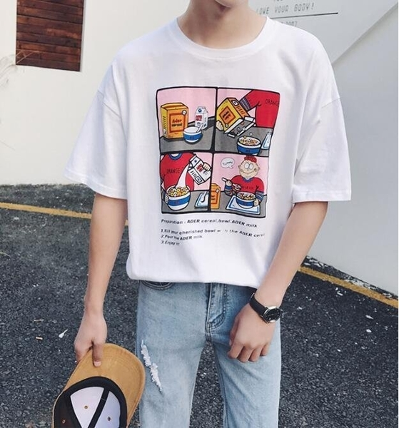 FINDSENSE MD 韓國 潮 男 時尚 休閒 寬鬆 五分袖 卡通漫畫圖案