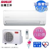 (自助價)SANLUX台灣三洋5-7坪一級變頻冷專分離式冷氣SAE-36V7+SAC-36V7~預購