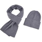 羊毛圍巾+毛帽(兩件套)-情侶經典純色針織男女披肩5色73wh48【時尚巴黎】