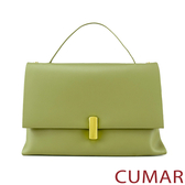 CUMAR 牛皮轉鎖手提兩用小方包-抹茶綠色