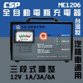 麻聯電機 ME12V/6A 汽機車電池充電器 電池充電器(ME1206)