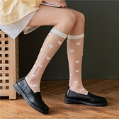 2雙丨玻璃絲小腿襪愛心卡絲襪子女透明及膝水晶襪夏季薄款【慢客生活】