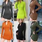 長袖洋裝 歐美性感修身顯瘦連身裙 針織螺紋拉鏈打底裙包臀裙女  降價兩天