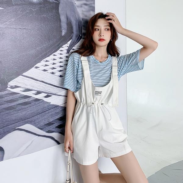 VK精品服飾 韓系條紋衫背帶牛仔褲連身寬口褲套裝短袖褲裝