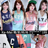 克妹Ke-Mei【AT51164】Booklyn2010字母圖印性感扭結美背小洋裝