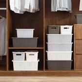 仿藤編有蓋收納箱衣服衣物整理箱塑料收納盒儲物盒【韓衣舍】
