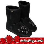 HELLO KITTY X Ann'S毛茸茸可愛靴面刺繡中筒可反摺真皮雪靴-黑