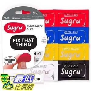 [106美國直購] Sugru 紅藍黃黑白 8入 SMLT8 Moldable Glue 創意塑型黏土 Classic Multi-Color (Pack of 8) E1F