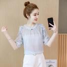 雪紡上衣 6508#2021夏季新款 心機設計感小眾襯衣時尚花朵露肩短袖雪紡衫女 17【618特惠】