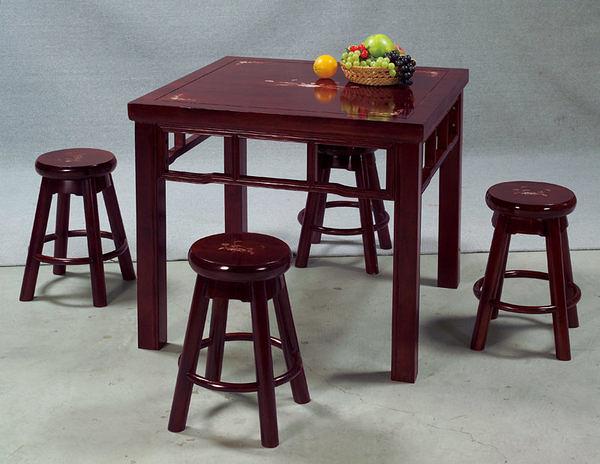 [ 家事達] TMT 鑲貝花紋實木多功能餐桌椅組 (THV-212+HV-007*4)
