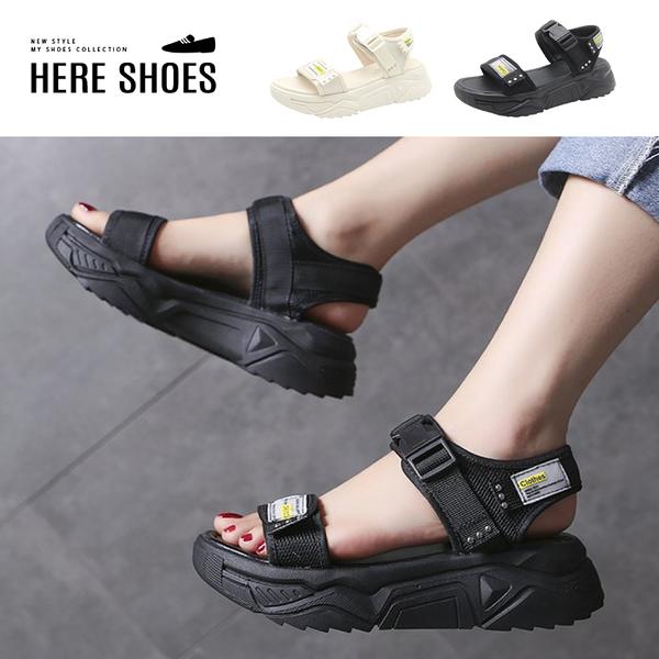 [Here Shoes] 零碼38 厚底4cm 透氣尼龍網布魔鬼氈扣帶可調 美式運動風涼鞋─KG8801