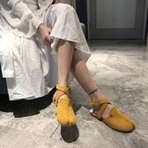 豬蹄鞋 個性磨砂皮包頭交叉綁帶平底分趾鞋豬蹄鞋單鞋 小天後