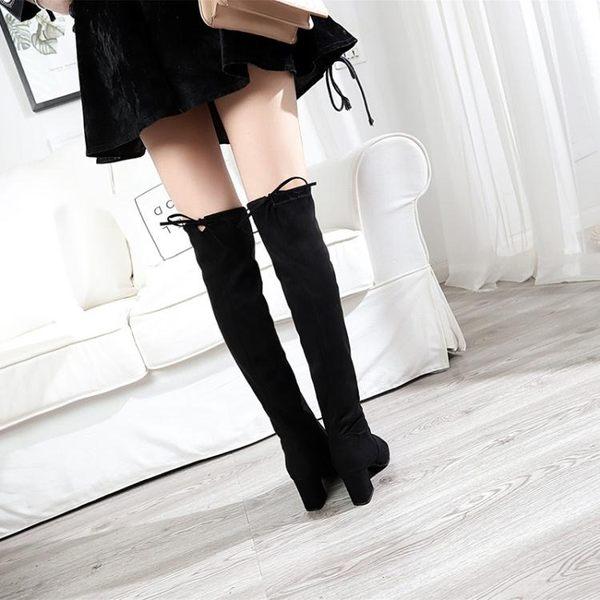 膝上靴 2018秋冬膝上靴女顯瘦彈力靴中跟高筒靴粗跟騎士靴SW5050女靴子 雙11購物節