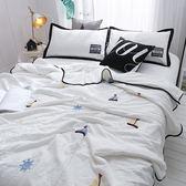 韓式可水洗毛巾繡夏涼被(含枕套)-白色帆船【BUNNY LIFE邦妮生活館】