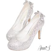 Ann'S高調公主-閃耀亮片後跟立體方結防水台高跟婚鞋