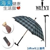 【海夫健康生活館】Weiyi 志昌 分離式 防風手杖傘 正常款 清澈藍格(JCSU-A01)