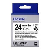 [哈GAME族]免運費 可刷卡 EPSON LK-6WBC 標籤機色帶 標籤帶 白底黑字 24mm