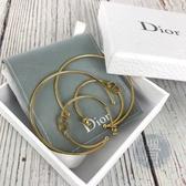BRAND楓月 CHRISTIAN DIOR CD 月亮線條 金色 LOGO 大小圓圈 耳環 飾品 配件
