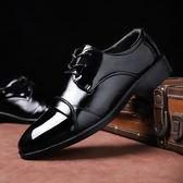 皮鞋男商務正裝休閒潮鞋亮皮韓版尖頭內增高【七七特惠全館七八折】