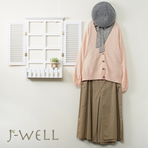 J-WELL 棉柔針織外套豹紋領口綁帶上衣寬褲三件組(組合A659 9J1123橘+9J1098灰+8J1531卡)