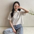 polo衫 polo領斜扣民國短款短袖T恤衫新款中式白色宮廷上衣女復古