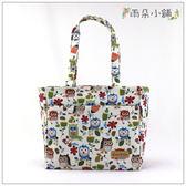 側背包 包包 防水包 雨朵小舖 Z-156-026 橫A4胖直立-白貓頭鷹草02139 皇后與貓