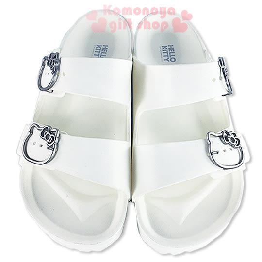 〔小禮堂〕Hello Kitty 雙帶勃肯拖鞋《白.銀簍空大臉》海灘拖鞋3086951-3943_