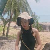 遮陽帽漁夫帽女冷淡風大檐盆帽日系太陽帽
