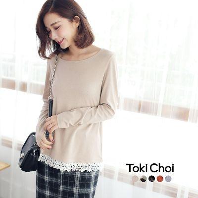 東京著衣-tokicho-多色拼接蕾絲長袖上衣-S.M(6026623)