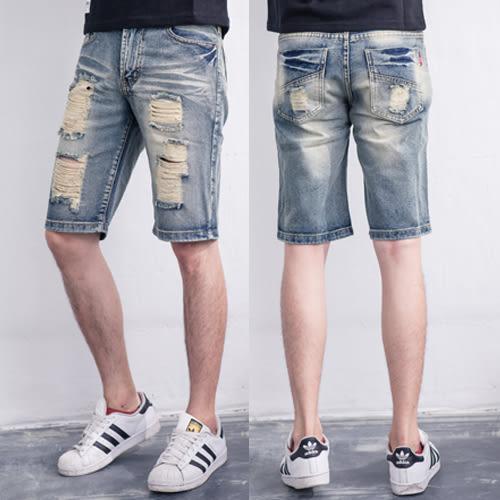 破褲.美式復古刷色破壞牛仔短褲