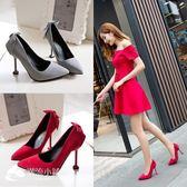 高跟涼鞋 韓版新款貓跟尖頭鞋淺口氣質顯瘦百搭細跟高跟單鞋 潮流小鋪