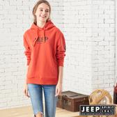【JEEP】女裝 立體LOGO連帽長袖TEE (橘紅色)